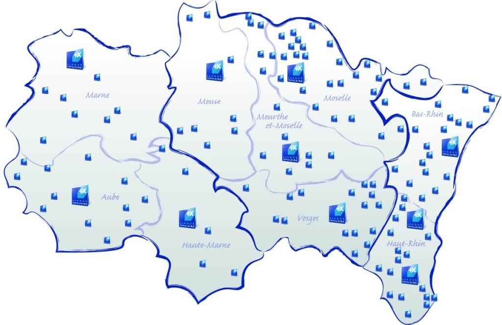 Carte des agences de la BPALC (© BPALC)